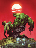 Incredible Hulk No.3: Hulk and Bruce Banner Fighting Plastic Sign by Marc Silvestri