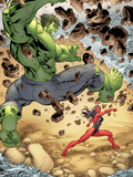 Incredible Hulks No.613: Hulk and Red She-Hulk Fighting Plastic Sign by Tom Raney