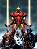 Iron Man No.84 Cover: Iron Man, Falcon, Black Panther, Wasp, Ant-Man and Avengers Plastic Sign by Steve Epting