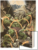 Incredible Hulks No.624: Miek has Trapped Hulk and Kazar Wood Print by Dale Eaglesham