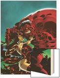 Hulk No.15 Cover: Elektra and Rulk Wood Print by Ian Churchill