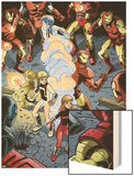Iron Man And Power Pack No.3 Group: Zero-G, Lightspeed and Iron Man Wood Print by Marcelo Dichiara