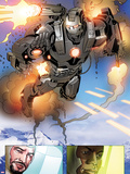 Invincible Iron Man No.513: Panels with War Machine and Iron Man Plastic Sign by Salvador Larroca
