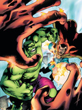 Marvel Adventures Hulk No.5 Cover: Hulk and Dr. Strange Plastic Sign by Juan Santacruz