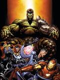 World War Hulk No.4 Cover: Hulk, Dr. Strange, Mr. Fantastic and Iron Man Plastic Sign by David Finch