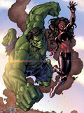 Incredible Hulks No.635: Hulk and Red She-Hulk Plastic Sign by Tom Grummett