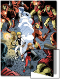 Iron Man And Power Pack No.3 Group: Zero-G, Lightspeed and Iron Man Prints by Marcelo Dichiara