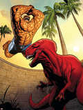 Marvel Adventures Fantastic Four No.41 Cover: Thing and Devil Dinosaur Plastic Sign by Clayton Henry