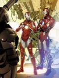 Invincible Iron Man No.29 Cover: Iron Man and Rescue Plastic Sign by Salvador Larroca