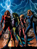 She-Hulk No.34 Cover: She-Hulk, Thundra, Valkyrie and Invisible Woman Wall Decal by Mike Deodato