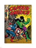 Marvel Comics Retro: Captain America Comic Book Cover No.110, with the Hulk and Bucky (aged) Plastic Sign