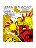 Marvel Comics Retro: The Invincible Iron Man Comic Panel, Fighting and Shooting Plastic Sign