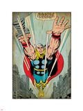 Marvel Comics Retro: Mighty Thor Comic Panel, Flying (aged) Plastic Sign