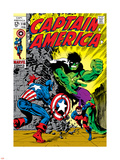Marvel Comics Retro: Captain America Comic Book Cover No.110, with the Hulk and Bucky Plastic Sign