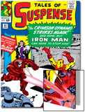Marvel Comics Retro: The Invincible Iron Man Comic Book Cover No.52, Facing the Crimson Dynamo Art