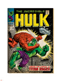 Marvel Comics Retro: The Incredible Hulk Comic Book Cover No.106, Titan Rages (aged) Plastic Sign