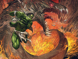 Incredible Hulk No.1: Hulk Fighting a Fiery Dragon Plastic Sign by Marc Silvestri