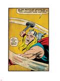 Marvel Comics Retro: Mighty Thor Comic Panel, Swinging Hammer (aged) Plastic Sign
