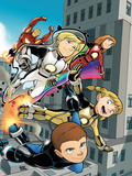 Iron Man And Power Pack No.4 Cover: Lightspeed, Mass Master, Zero-G and Energizer Plastic Sign by  Gurihiru