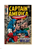 Marvel Comics Retro: Captain America Comic Book Cover No.106, Cap Goes Wild (aged) Plastic Sign