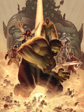 What if Wolrd War Hulk No.1 Cover: Hulk, Giant Man, Wasp, Vision and Silver Surfer Prints by John Romita Jr.