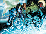 Incredible Hulks No.614: A-Bomb, She-Hulk, Hulk, Skaar, Red She-Hulk, and Korg Standing Plastic Sign by Barry Kitson