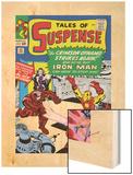 Marvel Comics Retro: The Invincible Iron Man Comic Book Cover No.52, Facing the Crimson Dynamo Wood Print