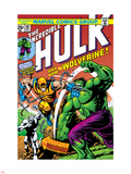 Marvel Comics Retro: The Incredible Hulk Comic Book Cover No.181, with Wolverine and the Wendigo Plastic Sign