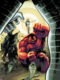 Hulk No.40 Cover: Red Hulk Screaming Plastic Sign by Gabriel Hardman