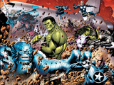 Incredible Hulks No.614: A-Bomb, Hulk, Red She-Hulk, Valkyrie, Steve Rogers, She-Hulk, and Nova Wall Decal by Barry Kitson