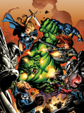Incredible Hulks No.614 Cover: Hulk, Steve Rogers, Valkyrie, and Black Widow Fighting Plastic Sign by Carlo Pagulayan