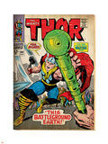 Marvel Comics Retro: The Mighty Thor Comic Book Cover No.144, Charging, Swinging Hammer (aged) Plastic Sign