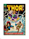 Marvel Comics Retro: The Mighty Thor Comic Book Cover No.129, The Verdict of Zeus, Hercules (aged) Plastic Sign