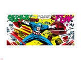Marvel Comics Retro: Captain America Comic Panel, Fighting, Phase 1, So Far So Good! Plastic Sign