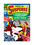 Marvel Comics Retro: The Invincible Iron Man Comic Book Cover No.52, Facing the Crimson Dynamo Plastic Sign
