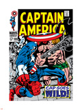 Marvel Comics Retro: Captain America Comic Book Cover No.106, Cap Goes Wild Plastic Sign