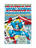 Marvel Comics Retro: Captain America Comic Panel; Smashing through Window; Red, White and Blue Plastic Sign