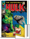 Marvel Comics Retro: The Incredible Hulk Comic Book Cover No.104, with the Rhino (aged) Print