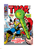 Marvel Comics Retro: The Mighty Thor Comic Book Cover No.144, Charging, Swinging Hammer Plastic Sign