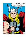 Marvel Comics Retro: Mighty Thor Comic Panel; God of Thunder! Holding Hammer Plastic Sign