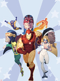 Iron Age: Omega No.1 Cover: Iron Man, Iron Fist, Dazzler, Cyclops, Captain Britain and Others Wall Decal by Ariel Olivetti