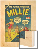Marvel Comics Retro: Millie the Model Comic Book Cover No.45, in Bathing Suit, at the Beach (aged) Wood Print