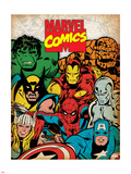 Marvel Comics Retro: Hulk, Thor, Spider-Man, Wolverine, Captain America, Iron Man, and Thing Plastic Sign