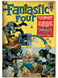 Marvel Comics Retro: Fantastic Four Family Comic Book Cover No.2, Fighting Skrulls (aged) Posters