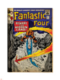 Marvel Comics Retro: Fantastic Four Family Comic Book Cover No.47, Beware, the Hidden Land! (aged) Plastic Sign