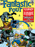 Marvel Comics Retro: Fantastic Four Family Comic Book Cover No.2, Fighting Skrulls Print