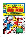 Marvel Comics Retro: The Invincible Iron Man Comic Book Cover No.58, Facing Captain America Plastic Sign