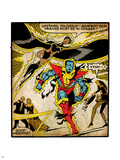 Marvel Comics Retro: X-Men Comic Panel, Colossus, Storm, Charging and Flying (aged) Wall Decal