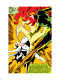 Marvel Comics Retro: X-Men Comic Panel, Phoenix, Emma Frost, Fighting Plastic Sign