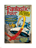 Marvel Comics Retro: Fantastic Four Family Comic Book Cover No.3, Flying (aged) Plastic Sign